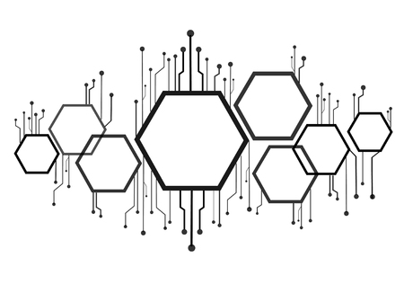 An abstract bee hive , hexagon and technology line background.