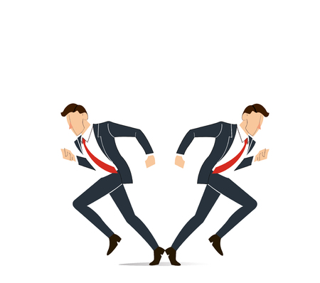 Businessman has to make decision which way to go for his success vector illustration