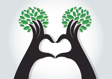 hands heart shape with leaves , nature lovers , World Environment Day Illustration