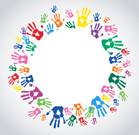 Colorful hand prints icon.