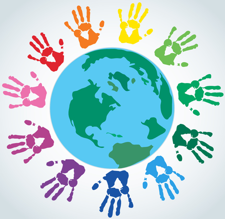 Colorful hand prints around the Earth icon. Illustration