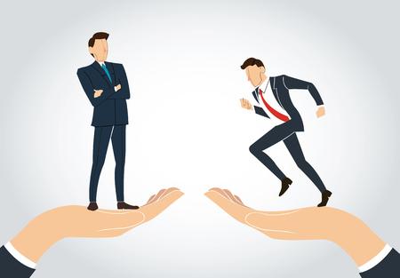 人間の手のアイコンの上に立って男性起業家。