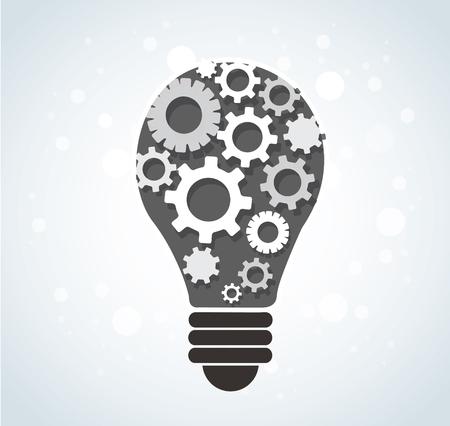 Gears in light bulb shape abstract pattern.