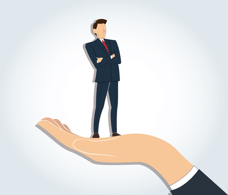 Successful businessman standing with crossed arms in big hand holding. Illustration
