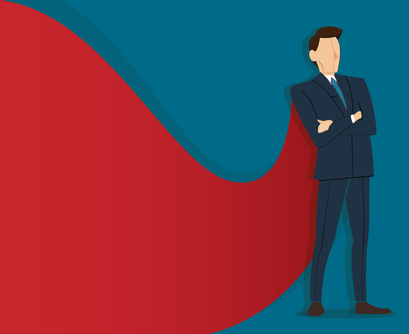 Successful businessman standing with crossed arms and red cape. Çizim