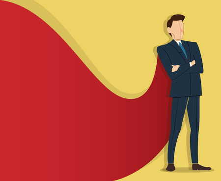 Successful businessman standing with crossed arms and red cape. Иллюстрация