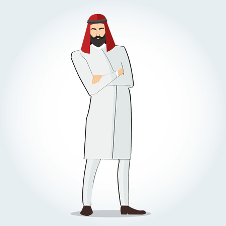 Arab men in suit standing with crossed arms vector