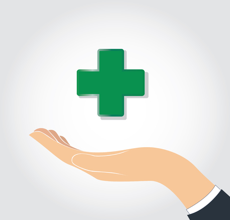 A hand holding medical icon on white background. Illustration