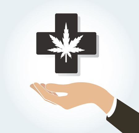 hand holding cannabis therapy medical and healthcare icon