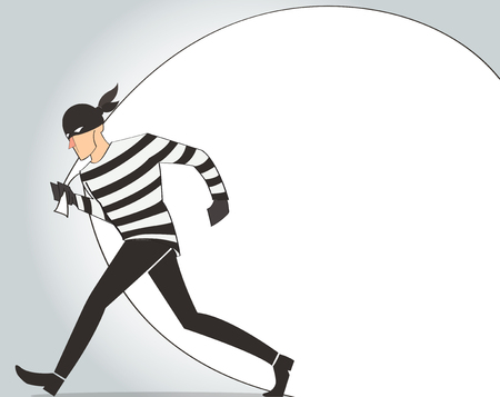 Thief in a mask character bandit cartoon illustration with robber bag background Illustration
