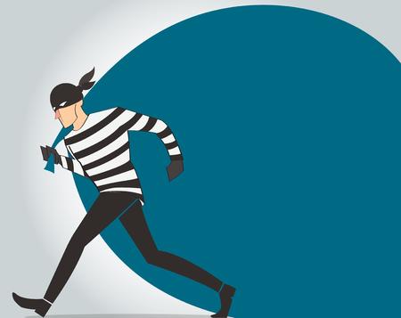Ladro in un maschera vettoriale vettore bandit fumetto illustrazione con sfondo sacco di furto