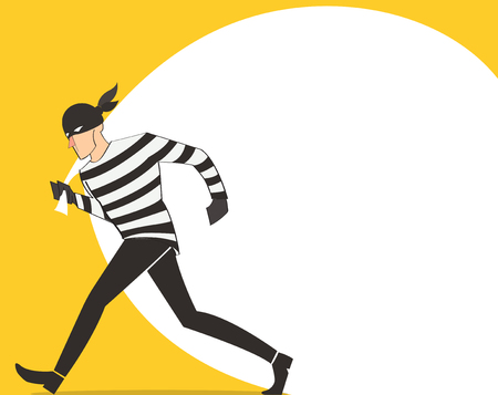 Thief in a mask character vector bandit cartoon illustration with robber bag background