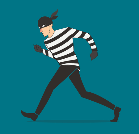 thief character vector bandit cartoon illustration robber in a mask Illustration