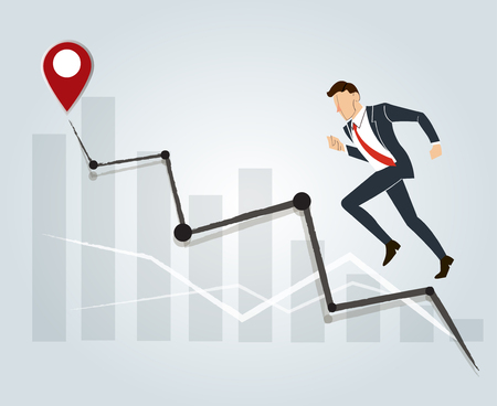 Businessman running and high graph background , business concept to success