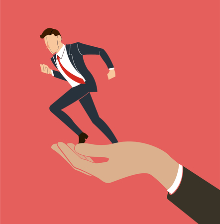 relay: hand holding running businessman vector