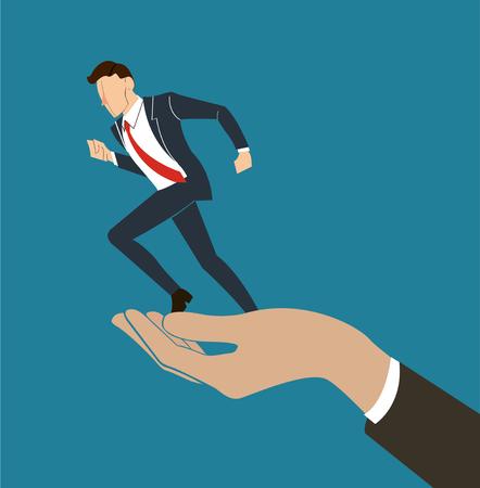 hand holding running businessman vector