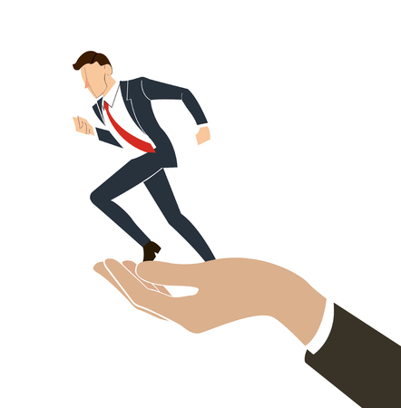 hand holding running businessman vector