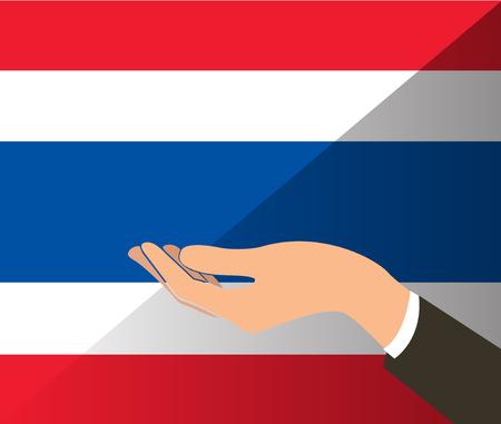 hand holding Thailand flag and background Illustration