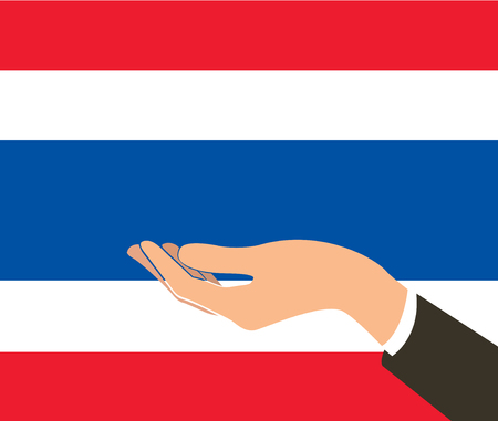 hand holding Thailand flag and background Illustration