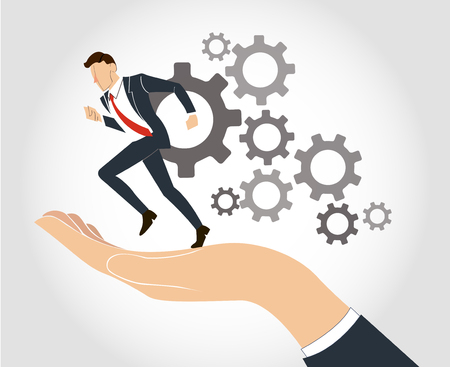 A hand holding businessman running with gear vector