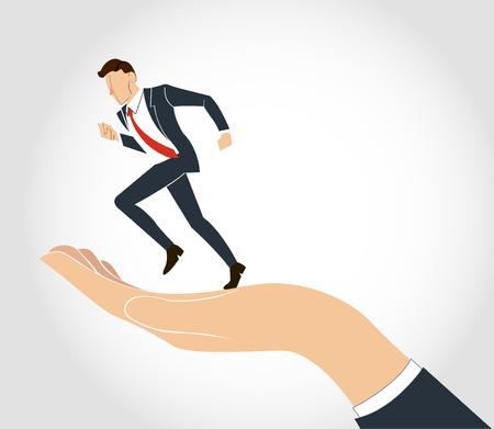 Hand holding running businessman vector Illustration