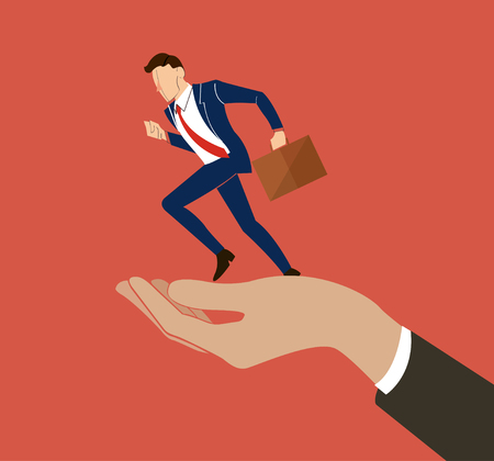 A hand holding running businessman vector