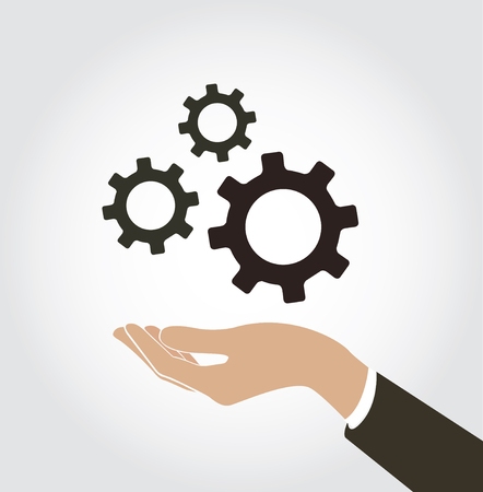 A hand holding gears icon vector Illustration