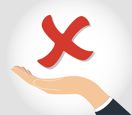 confirmed: hand holding false check icon symbol