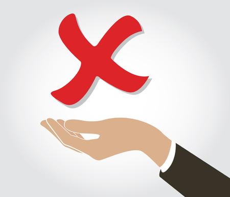 hand holding false check icon symbol