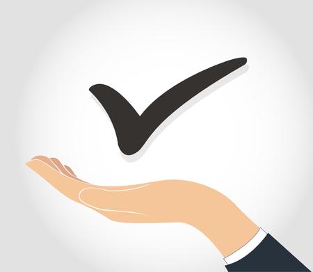 hand holding True check icon symbol