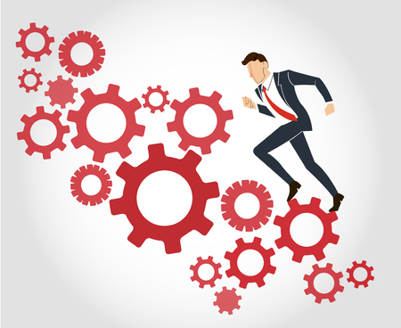 Businessman running with gears background vector