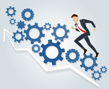 Businessman running with gears background. Illustration