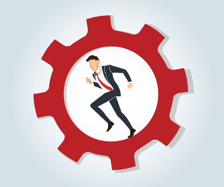 Businessman running in wheel gear. Illustration