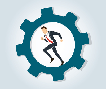 Businessman running in wheel gear vector illustration. Illustration
