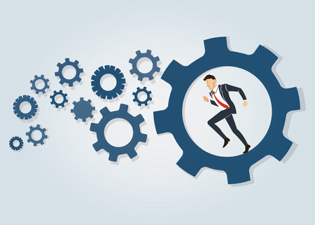 Businessman running in wheel gear background vector