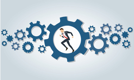Business-man running in wheel gear design template.