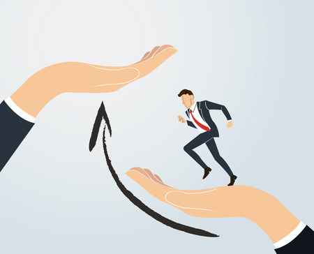Helping Hand. Businessman running to success.  business Concept vector