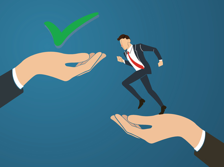 Businessman running to True decision.  business Concept vector Illustration