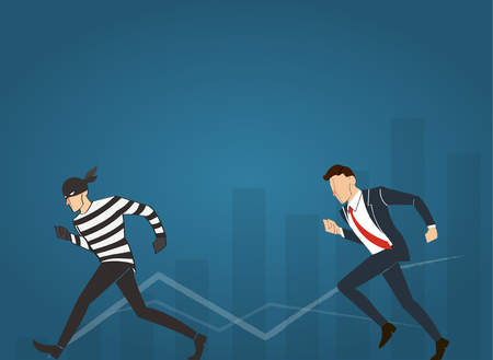 vector illustration of a businessman catching the thief