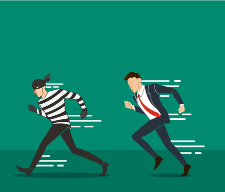 informatics: vector illustration of a businessman catching the thief and the code of hacker background