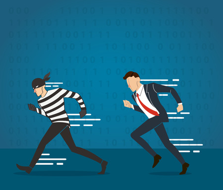 vector illustration of a businessman catching the thief and the code of hacker background