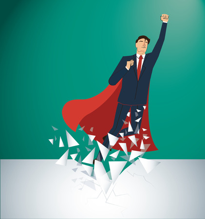 Successful businessman and red cape Breaking the wall vector. Business concept illustration.