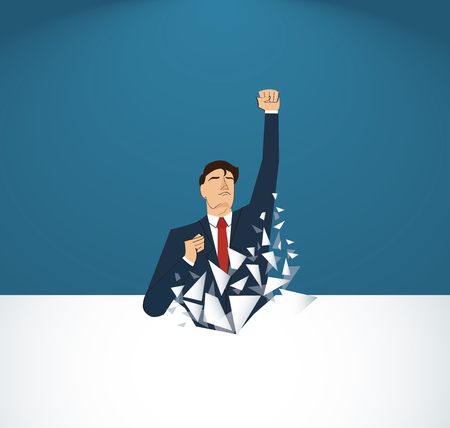 Businessman Breaking the wall. Business concept illustration. Reaching goal. Growth to success.
