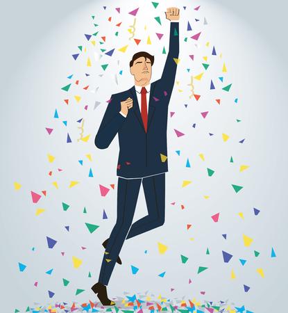 Businessman celebrating a successful achievement. Business concept illustration.
