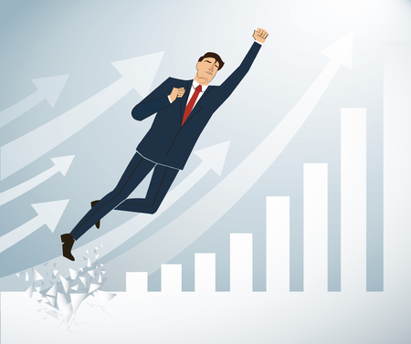 businessman Breaking the wall to Successful vector. Business concept illustration.