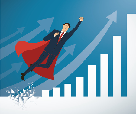 Business-man in red cape breaking the wall to success illustration.