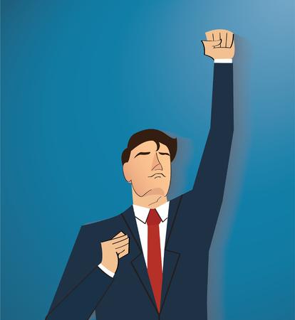 young black man: businessman celebrating a successful achievement. Business concept illustration.