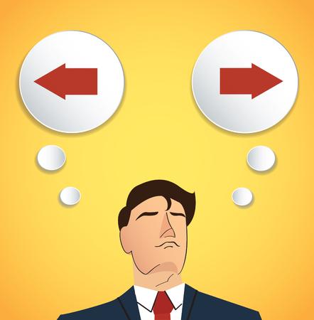 choosing: Businessman choosing between left or right.