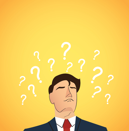 hand stand: Businessman with question marks background.