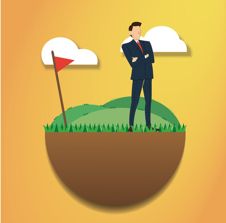 Standing businessman on the green field and golf flag. reach to success. Business concept.